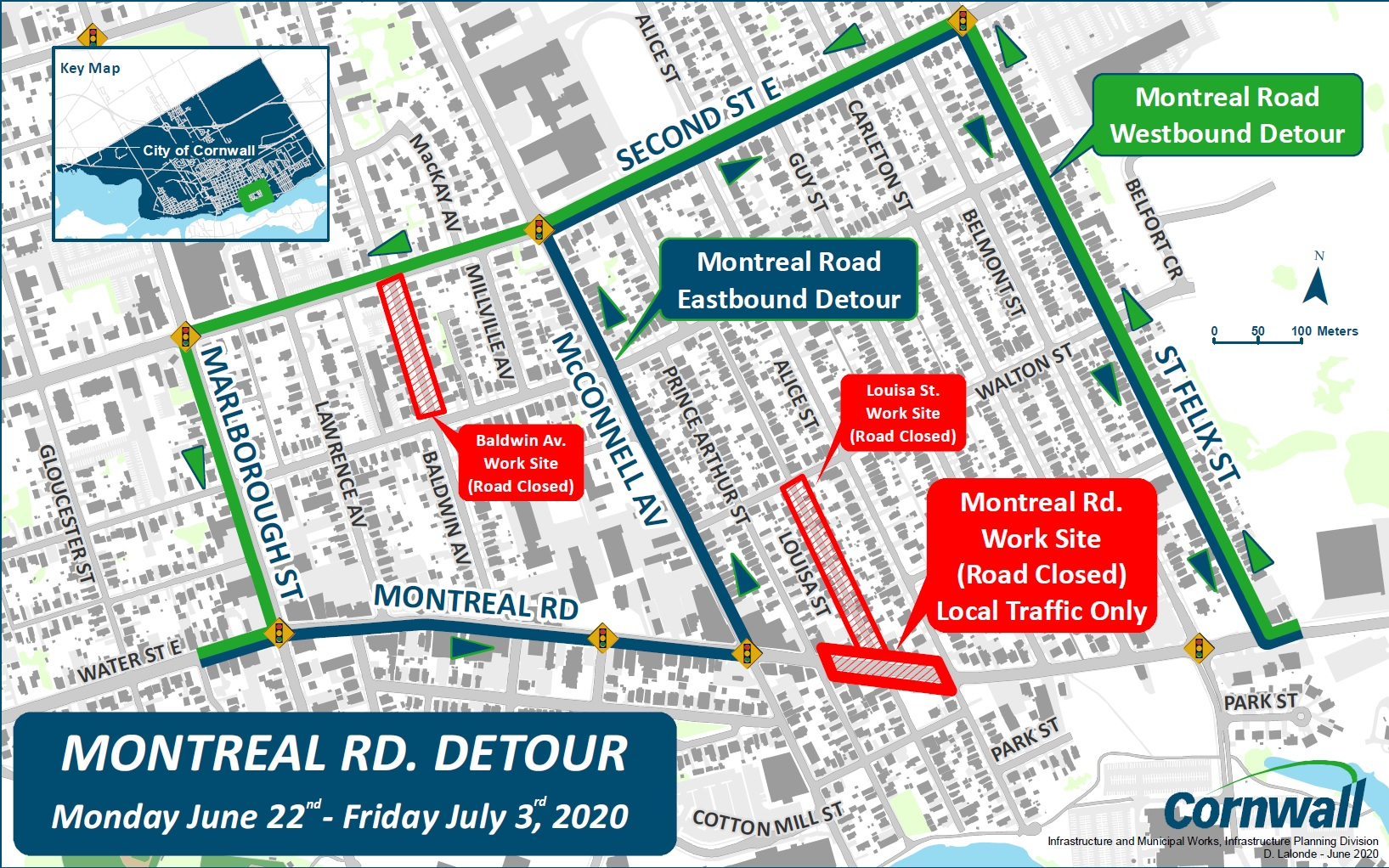 Montreal Road Closure for Construction on Louisa Street Street Map