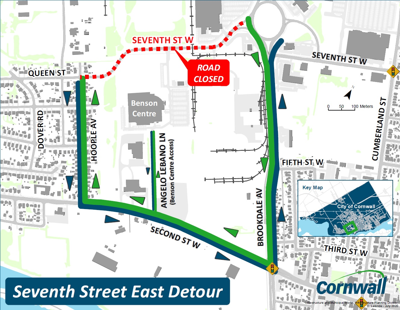 Seventh Street West from Brookdale Avenue to Hoople Avenue Detour Map
