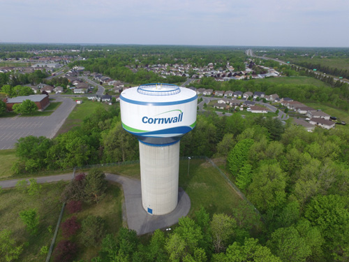 View of Cornwall from above with water tower