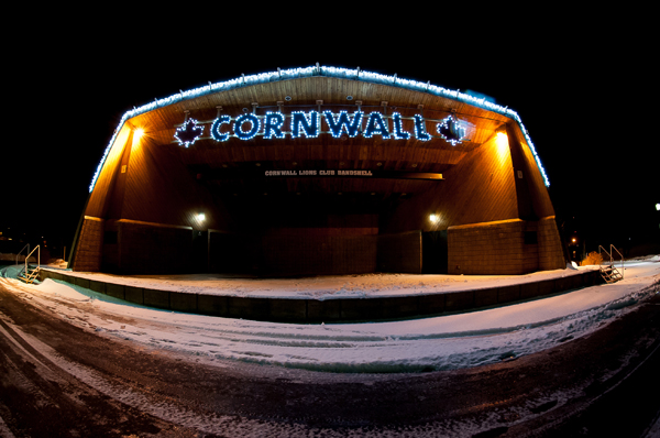 Cornwall Bandshell lit up at night in winter