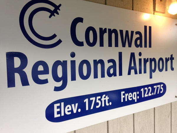 Cornwall Regional Airport sign
