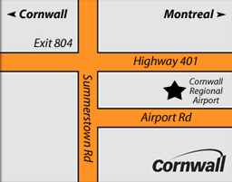 Map for directions to Cornwall Regional Airport