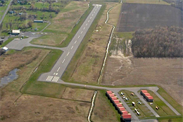 Aerial view of Cornwall Regional Airport runway