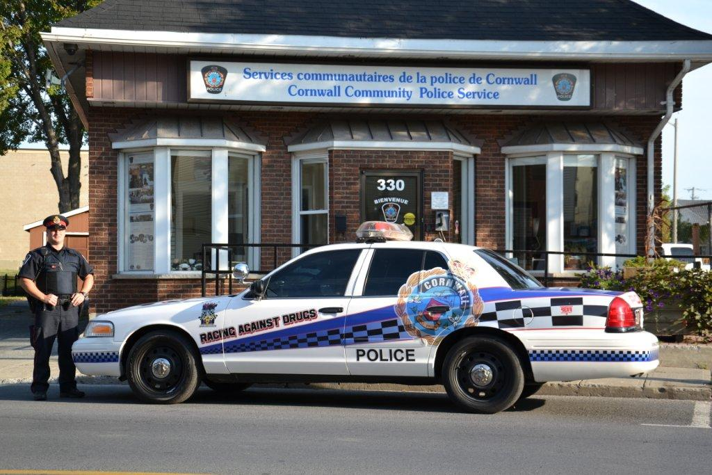 Police cruiser is parked in front of the Cornwall Police Service's East End headquarters