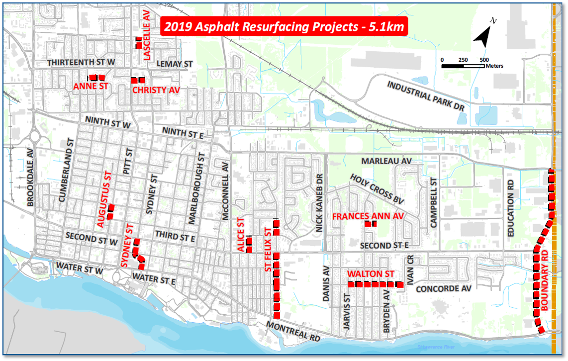 Map of asphalt resurfacing projects