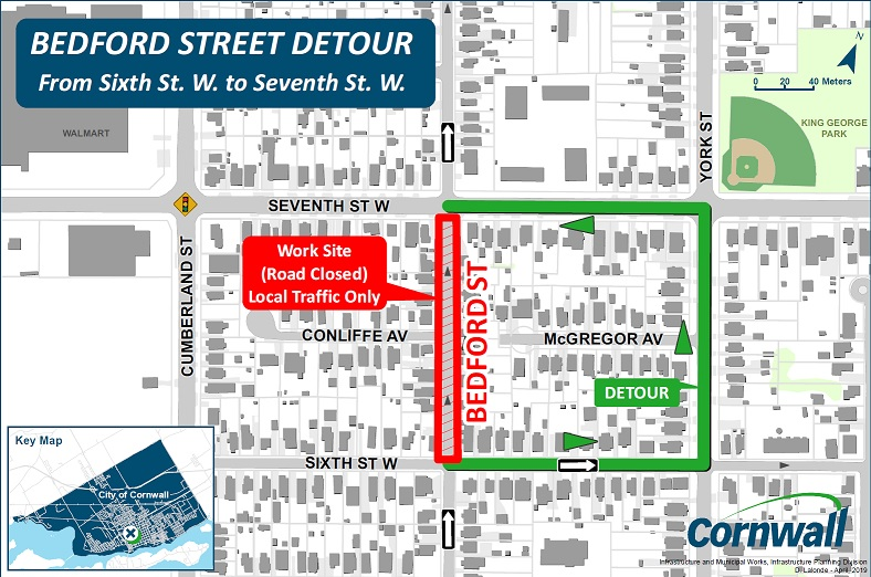 Bedford Sixth to Seventh Closed Detour Map