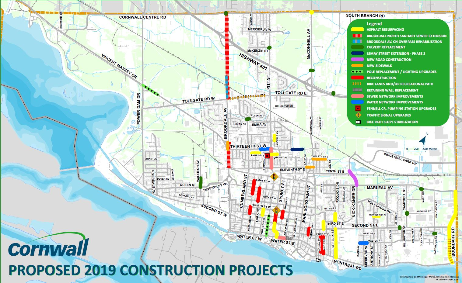 Map of planned construction projects