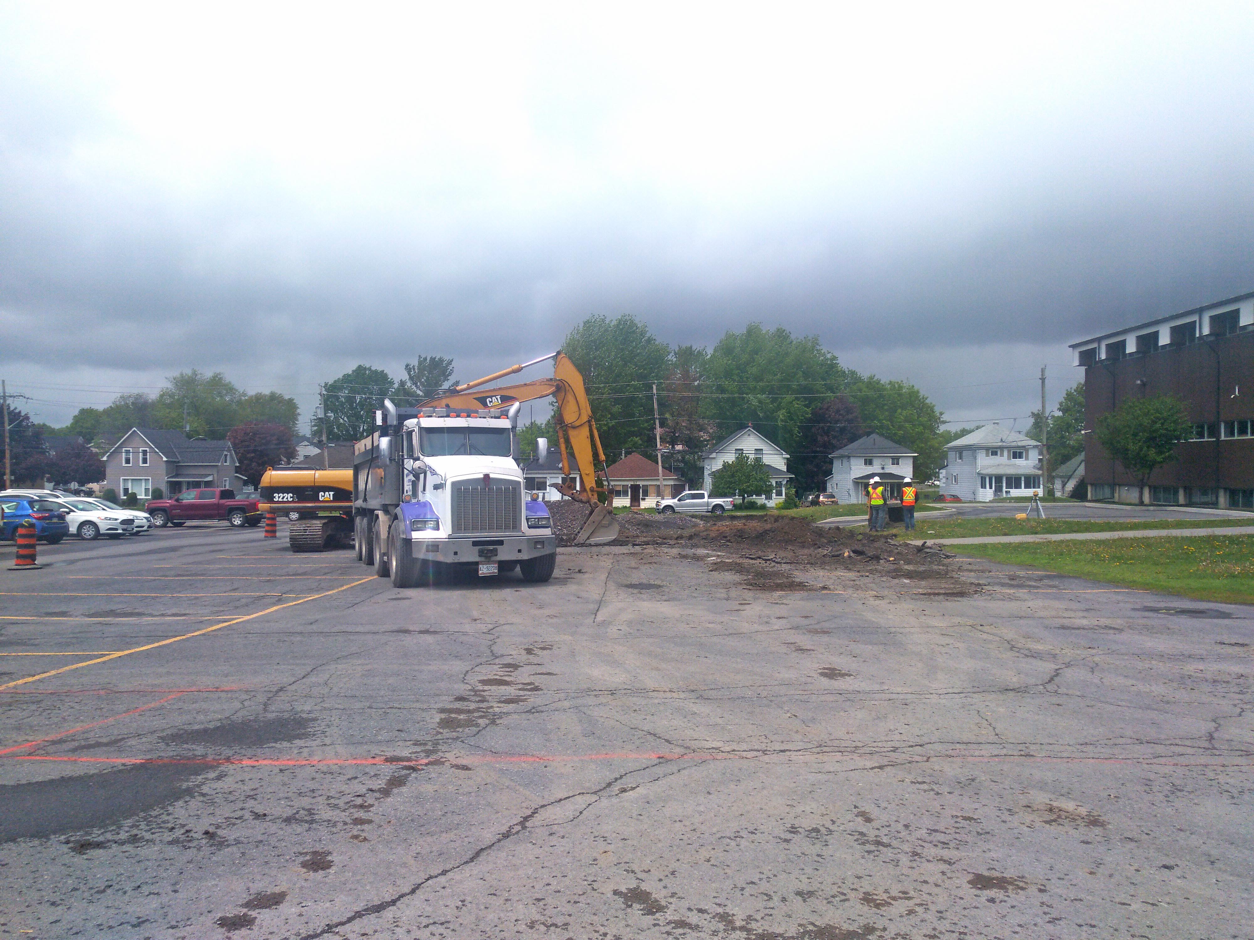 Construction started in parking lot