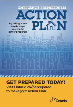 Blue and yellow poster for Emergency Preparedness Action Plan.