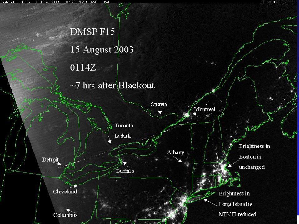 Effect of 2003 Blackout affecting Ontario, Northern New York and other areas.