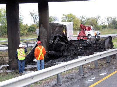 Truck accident on Hwy401 and Boundary Road in Cornwall.
