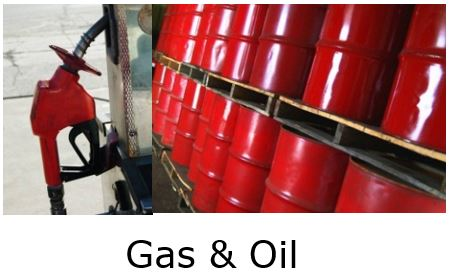 Critical Infrastructure. Image of Gas pump and barrels of oil.