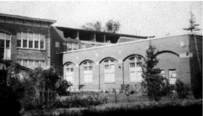 Black and white photo of CCVS school