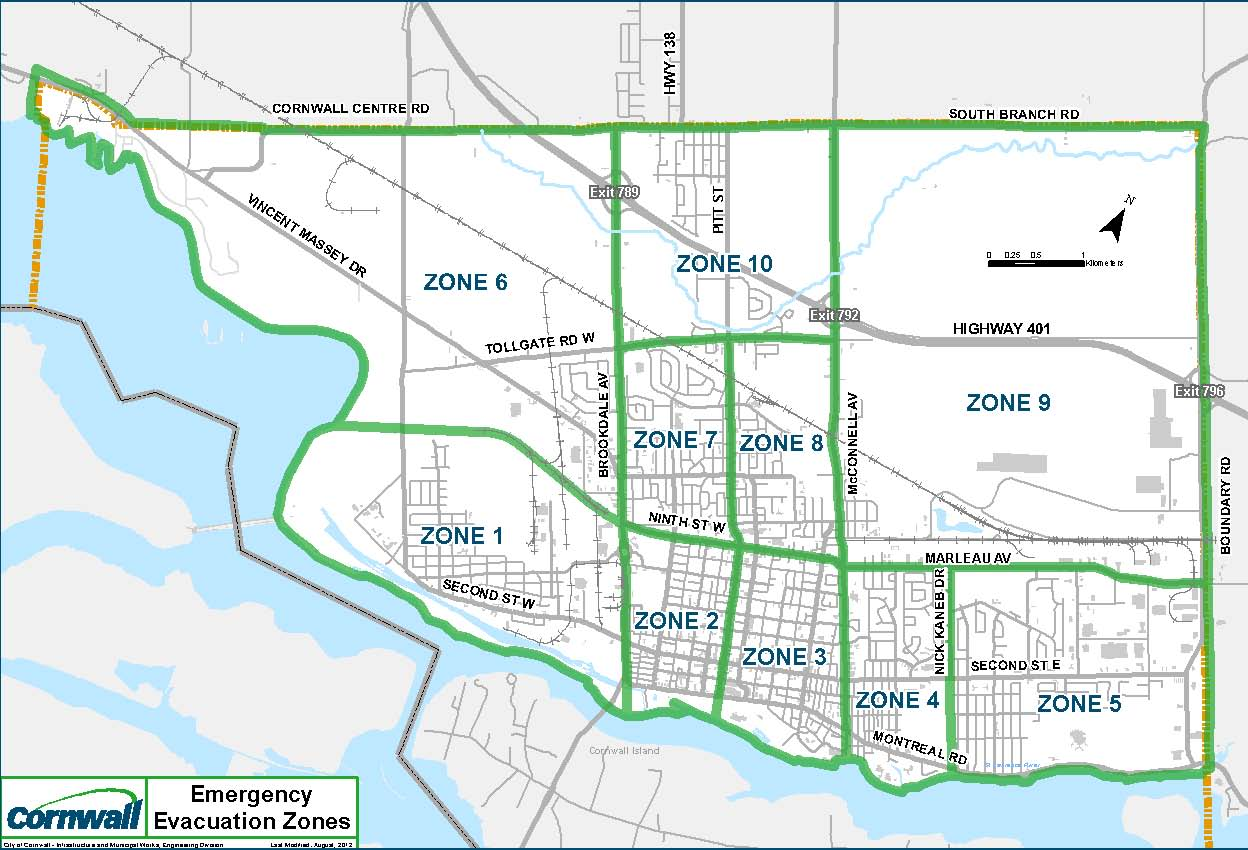 Cornwall Evacuation Zones with major roads shown on map
