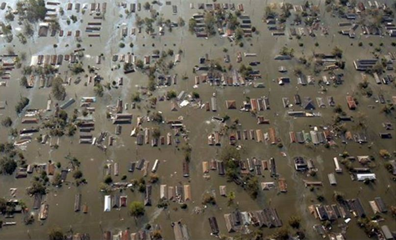 Overhead view and example of Flooding of homes and businesses