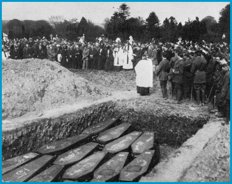 Burial ceremony during the 1918 Spanish Flu pandemic.