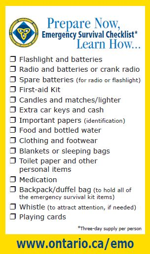 Prepare Now, Emergency Survivial Checklist.  Learn How.
