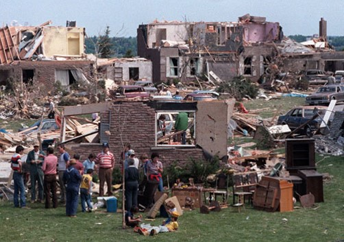 Image from Barrie Tornadoe showing damage to houses in 1985