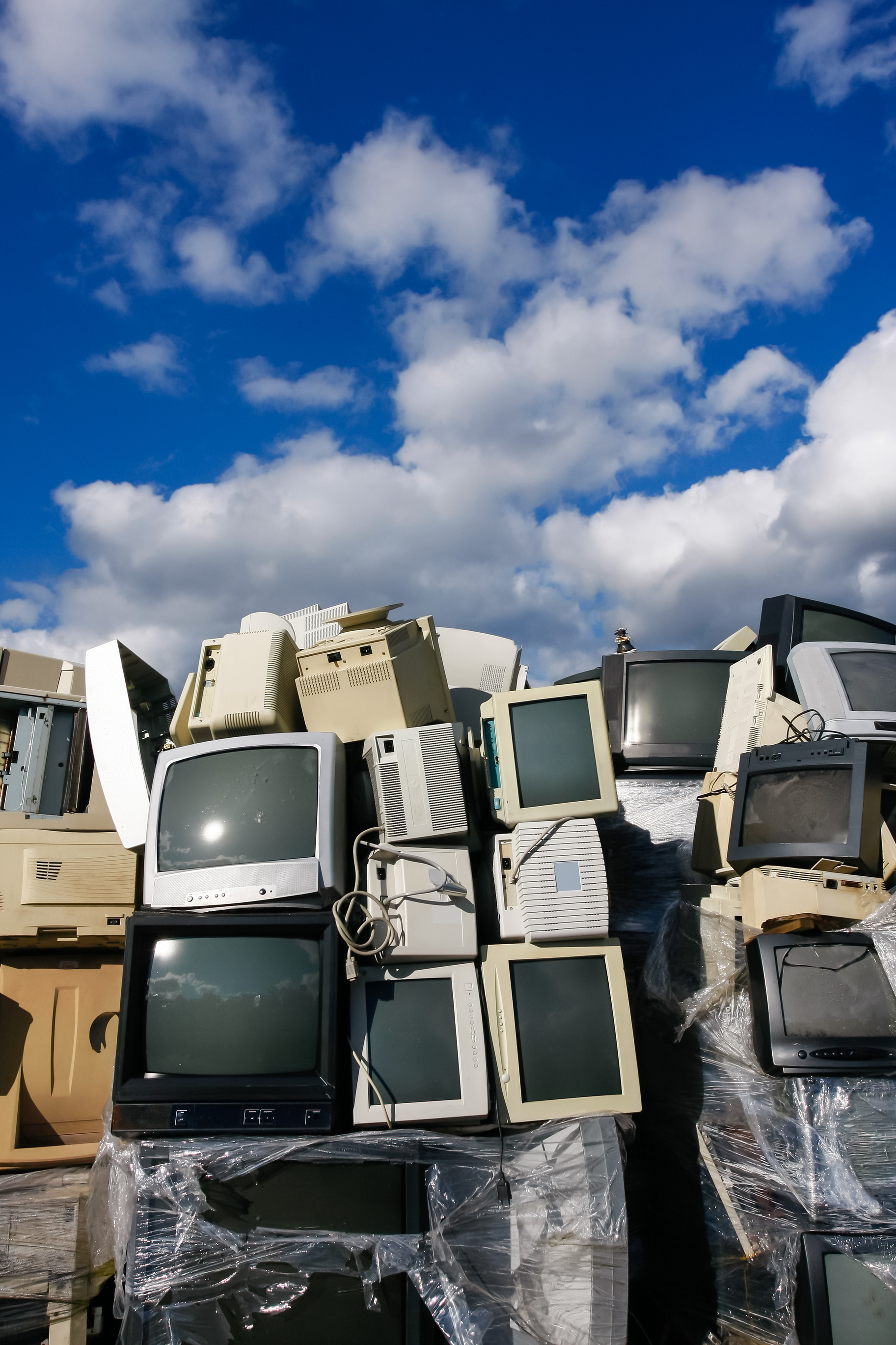 Pile of TVs and Electronics for recycling
