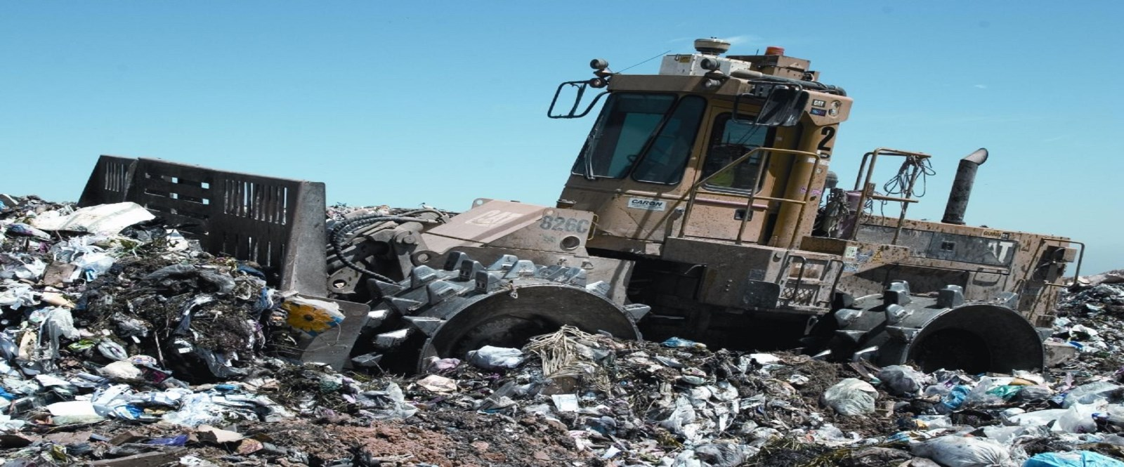 Cornwall Machine at landfill site packing garbage