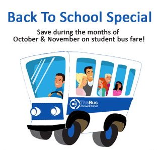 Back to School Special. Save during the months of October and November on student bus fare. Poster.