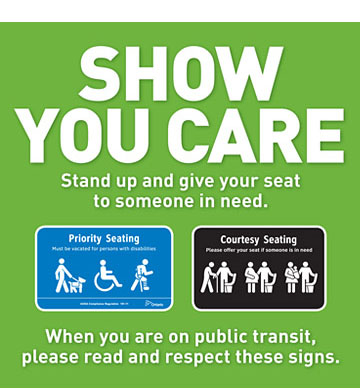 Green poster demonstrating priority and courtesy seating.