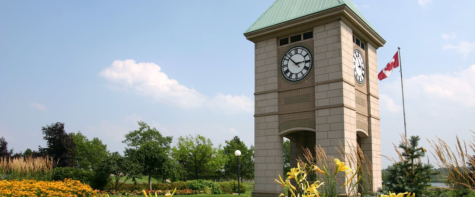 Clock tower with flowers