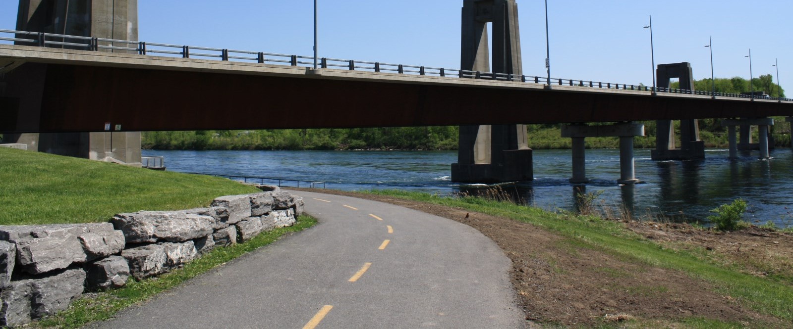 cornwall Recreational path going under bridge to USA