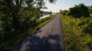 Waterfront trail bike path by canal