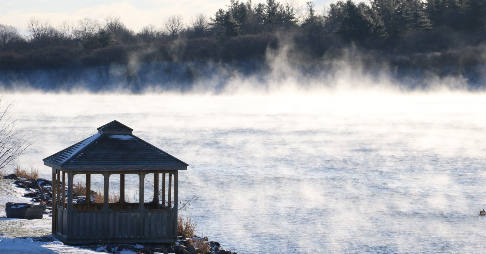 fog on st lawrence river in winter