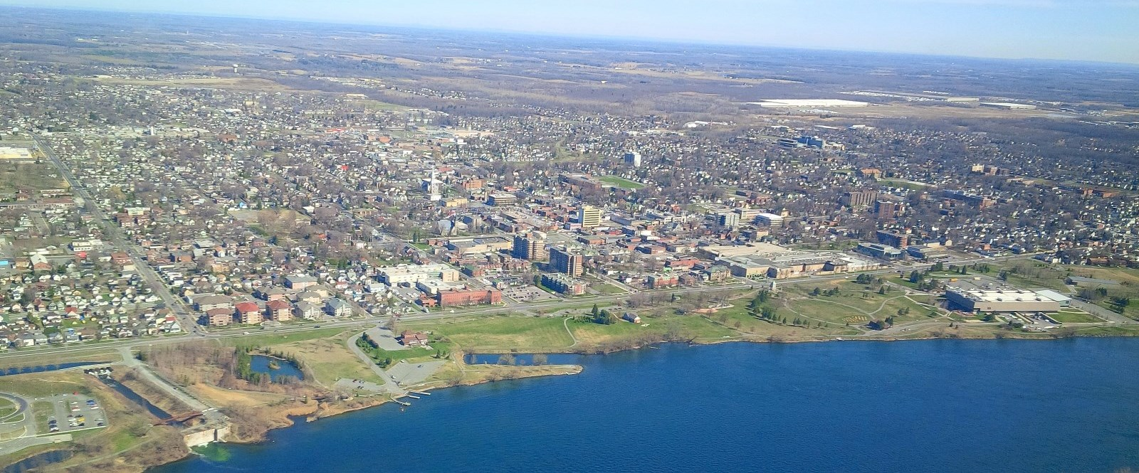 Aerial view of cornwall from above Saint Lawrence River
