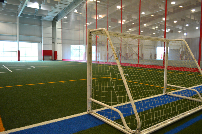 Fieldhouse with soccer net