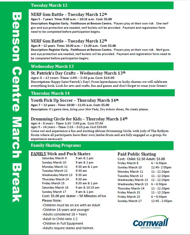 Green and white registration form for March Break activities