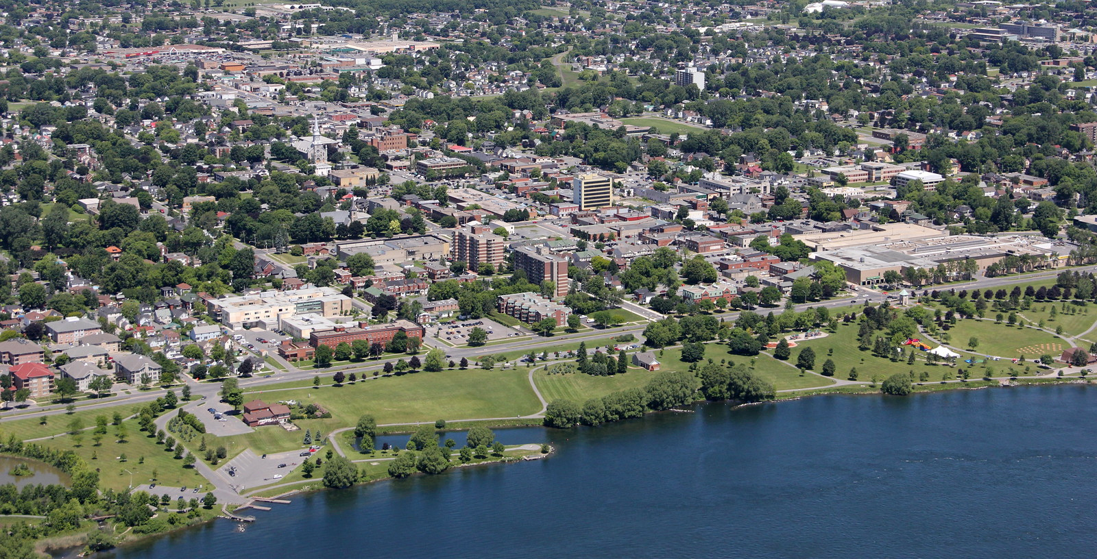 Aerial view of City from above Saint Lawrence River
